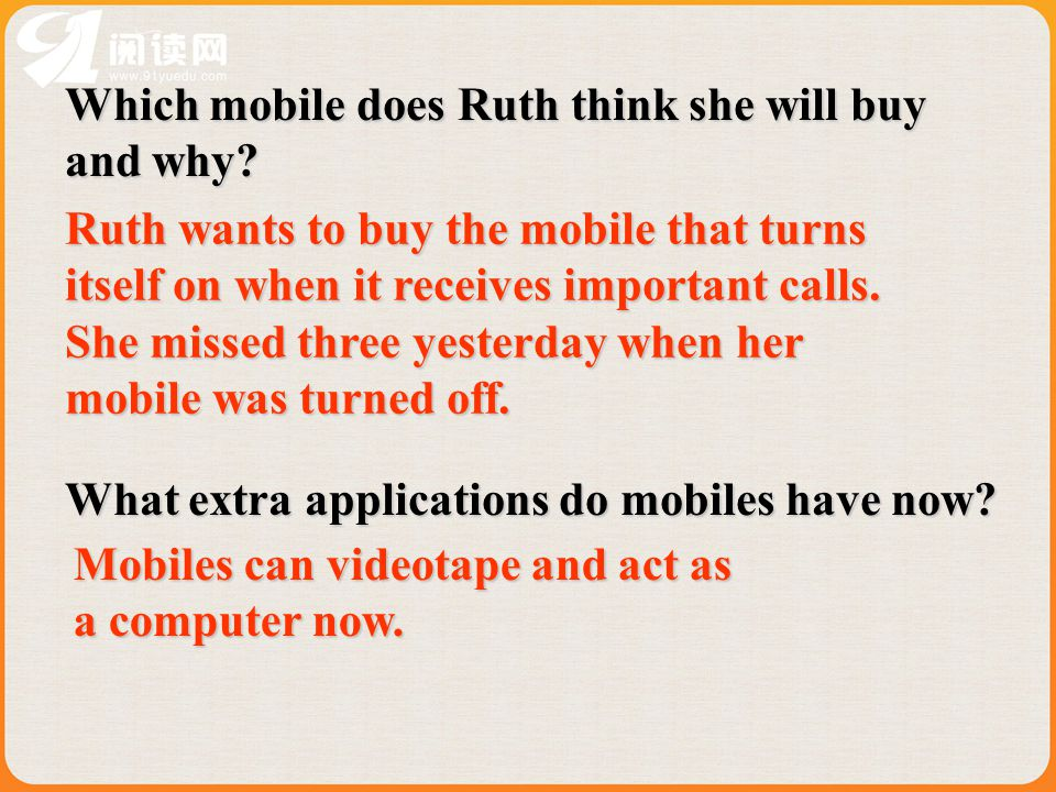 Which mobile does Ruth think she will buy and why