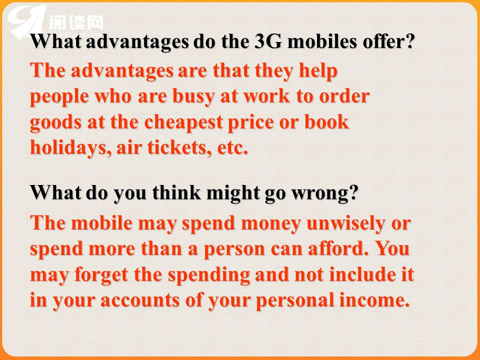 What advantages do the 3G mobiles offer