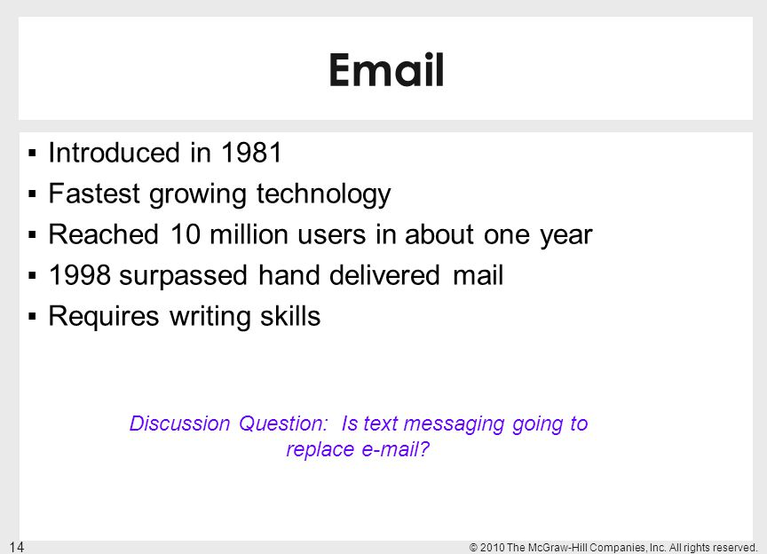 Discussion Question: Is text messaging going to replace e-mail