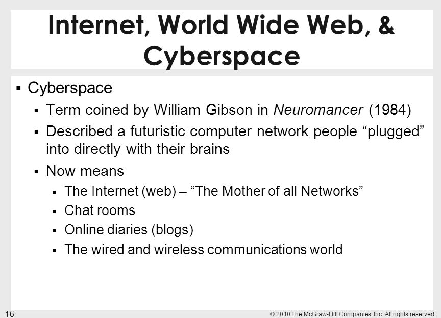 Internet, World Wide Web, & Cyberspace