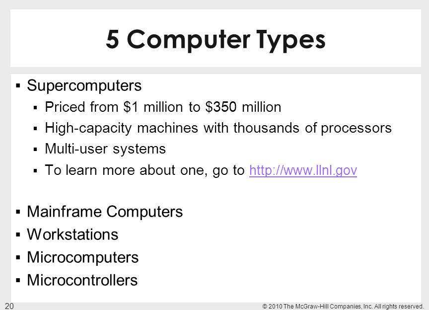 5 Computer Types Supercomputers Mainframe Computers Workstations