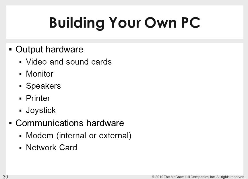 Building Your Own PC Output hardware Communications hardware