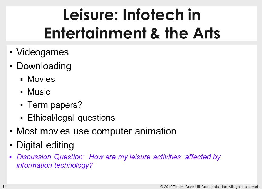 Leisure: Infotech in Entertainment & the Arts