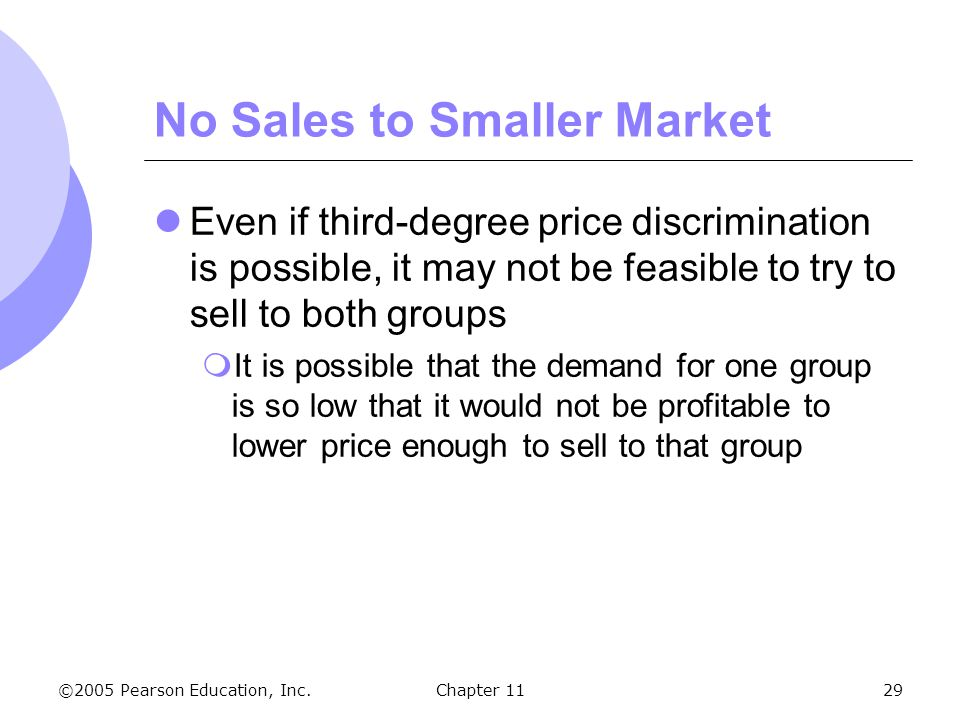 No Sales to Smaller Market