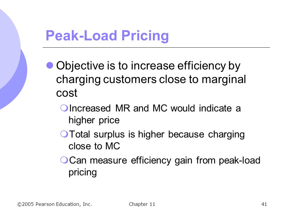 Peak-Load Pricing Objective is to increase efficiency by charging customers close to marginal cost.