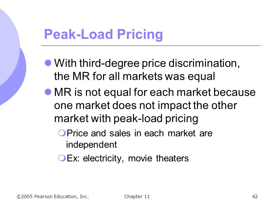 Peak-Load Pricing With third-degree price discrimination, the MR for all markets was equal.