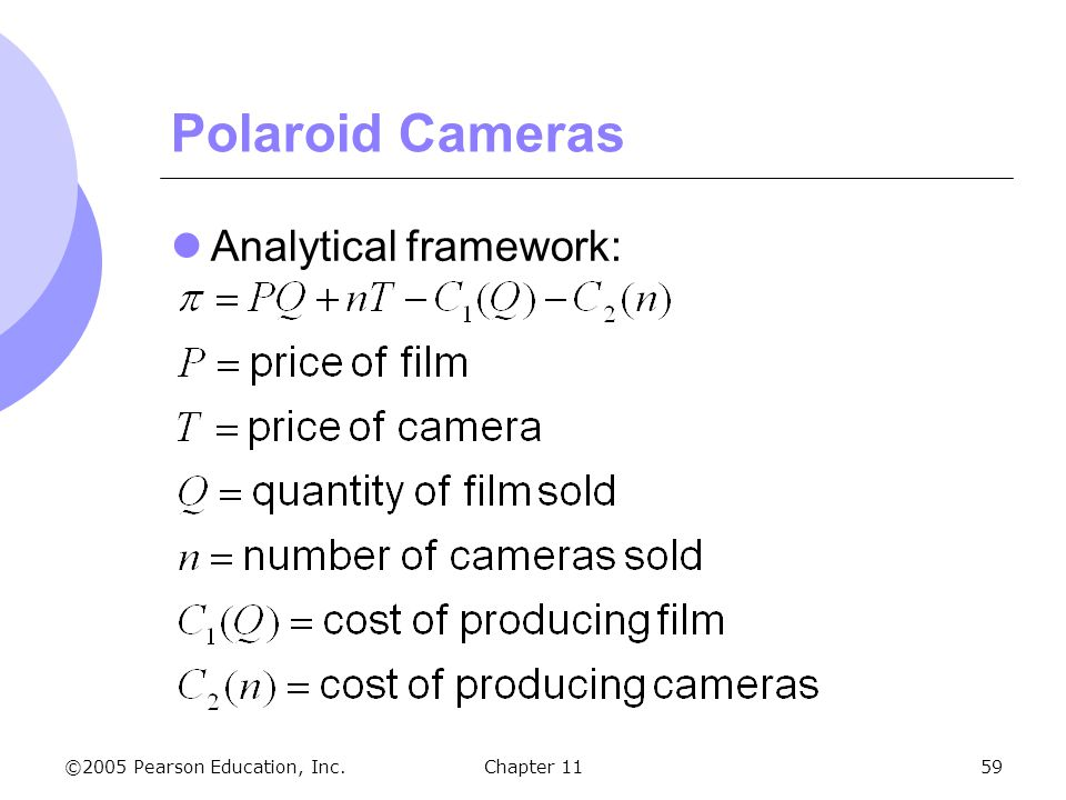 Polaroid Cameras Analytical framework: Chapter 11