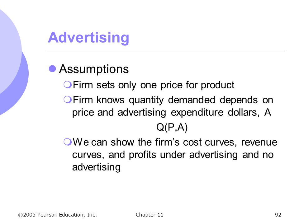 Advertising Assumptions Firm sets only one price for product