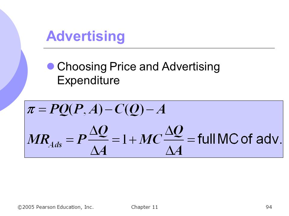 Advertising Choosing Price and Advertising Expenditure Chapter 11 137