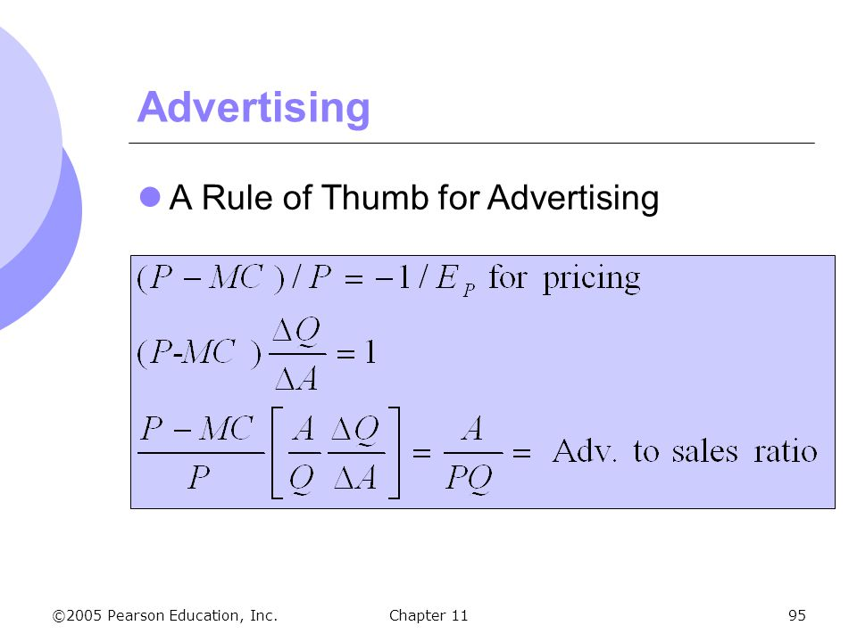 Advertising A Rule of Thumb for Advertising Chapter 11 138