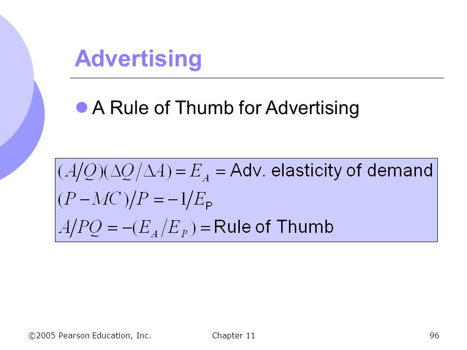 Advertising A Rule of Thumb for Advertising Chapter 11 139