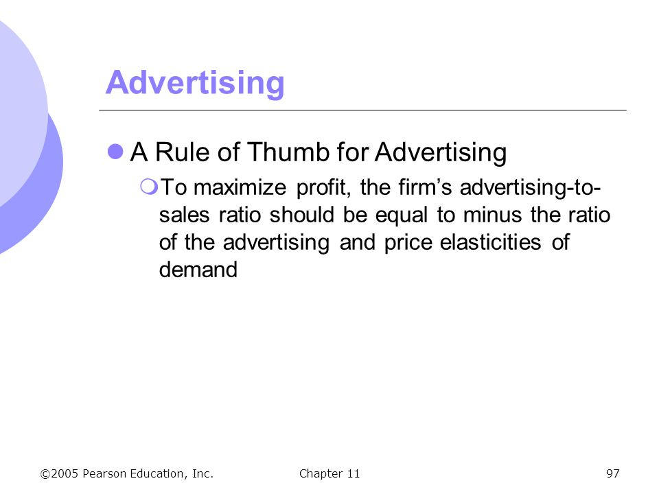 Advertising A Rule of Thumb for Advertising