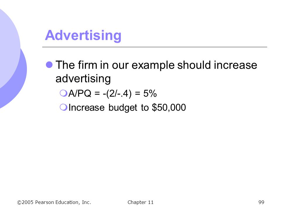 Advertising The firm in our example should increase advertising