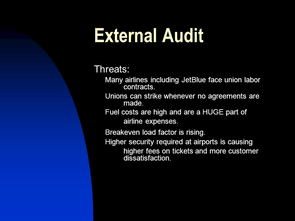 External Audit Threats: Breakeven load factor is rising.