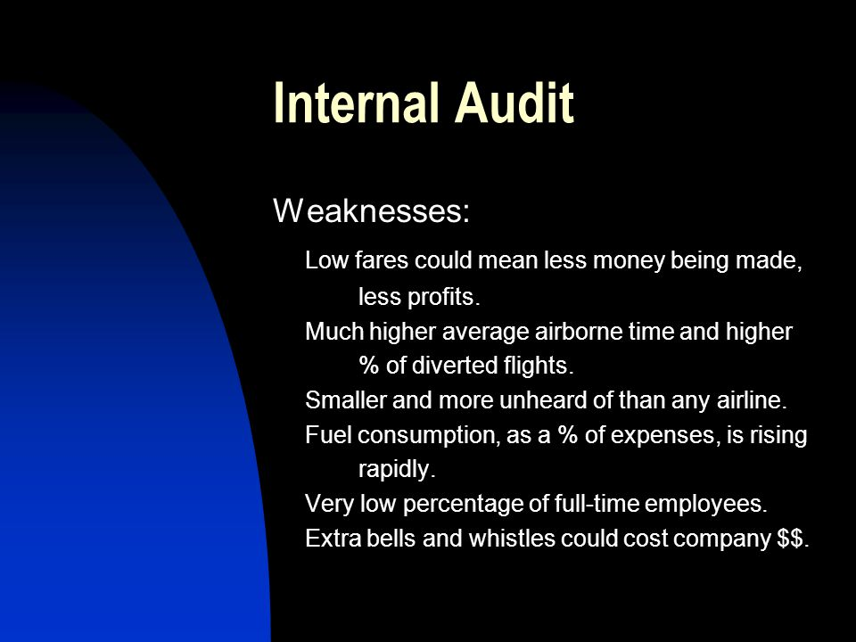 Internal Audit Weaknesses: Low fares could mean less money being made,