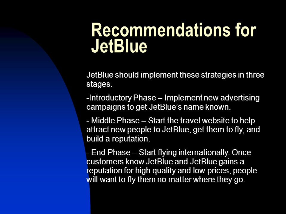 Recommendations for JetBlue