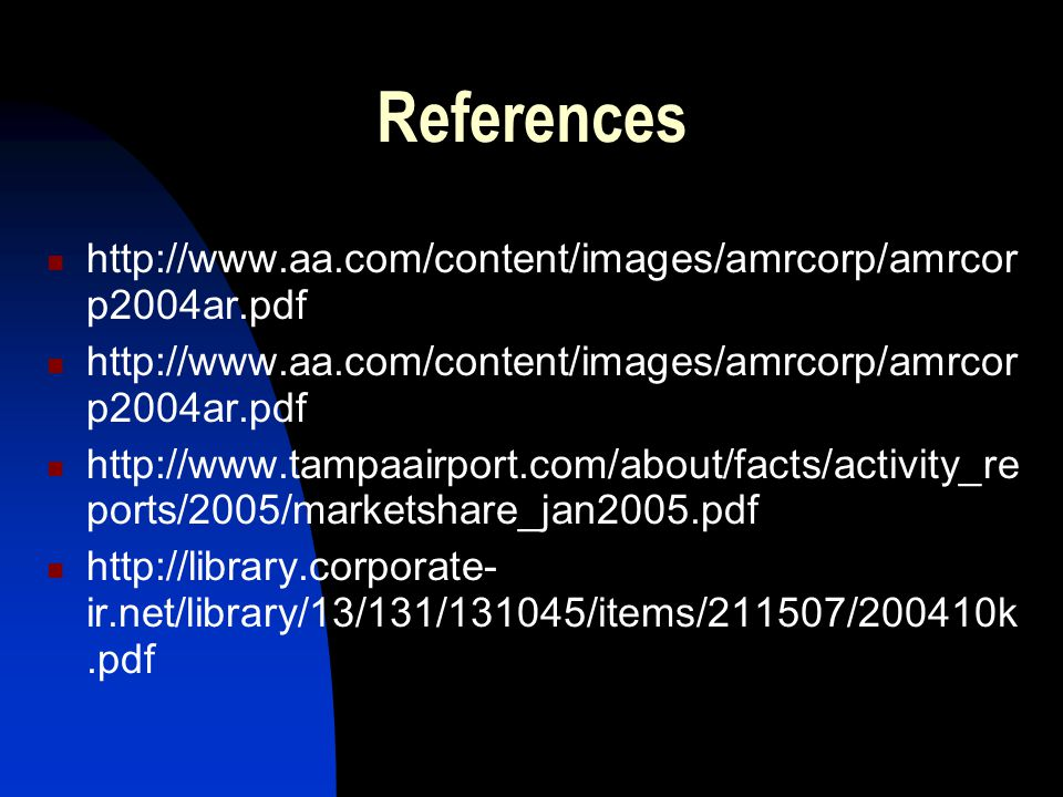 References http://www.aa.com/content/images/amrcorp/amrcor p2004ar.pdf