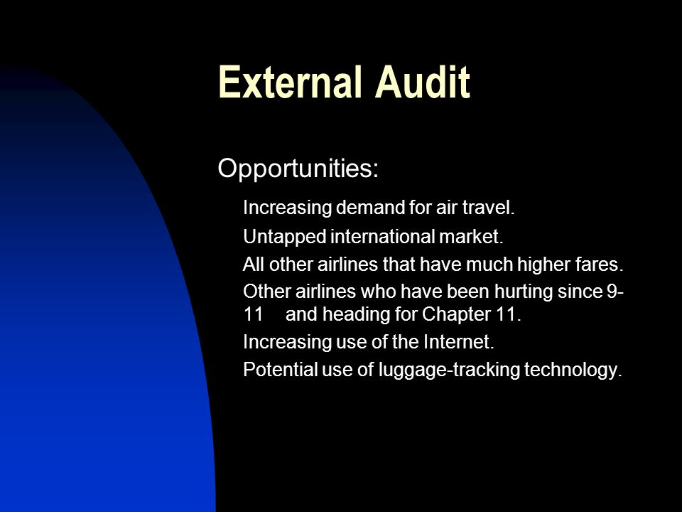 External Audit Opportunities: Increasing demand for air travel.