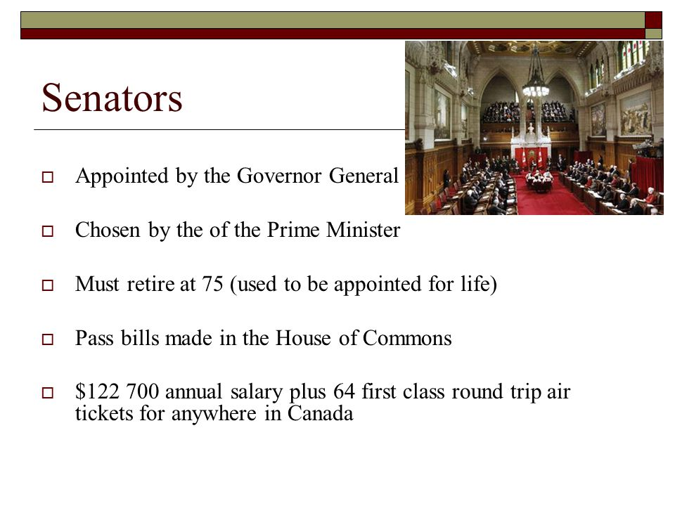 Senators Appointed by the Governor General