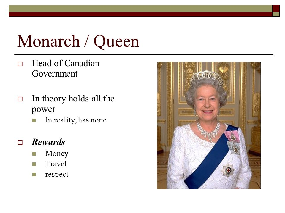 Monarch / Queen Head of Canadian Government