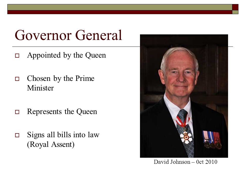 Governor General Appointed by the Queen Chosen by the Prime Minister
