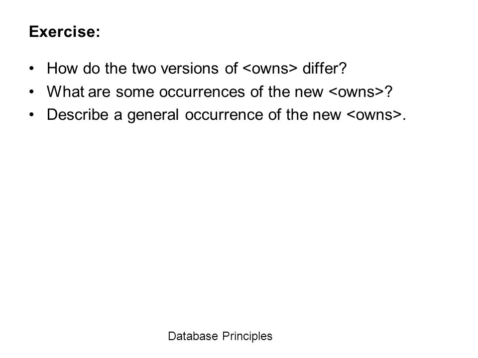 How do the two versions of <owns> differ