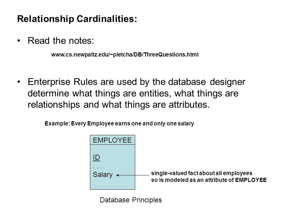 Relationship Cardinalities: