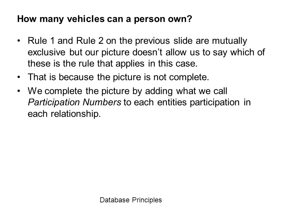 How many vehicles can a person own