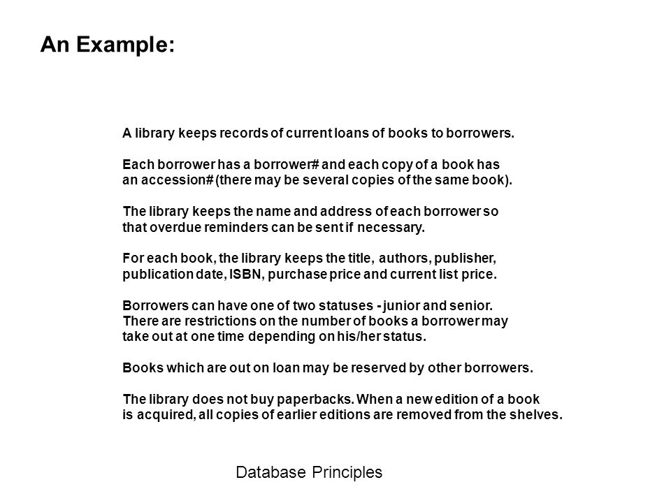 An Example: Database Principles