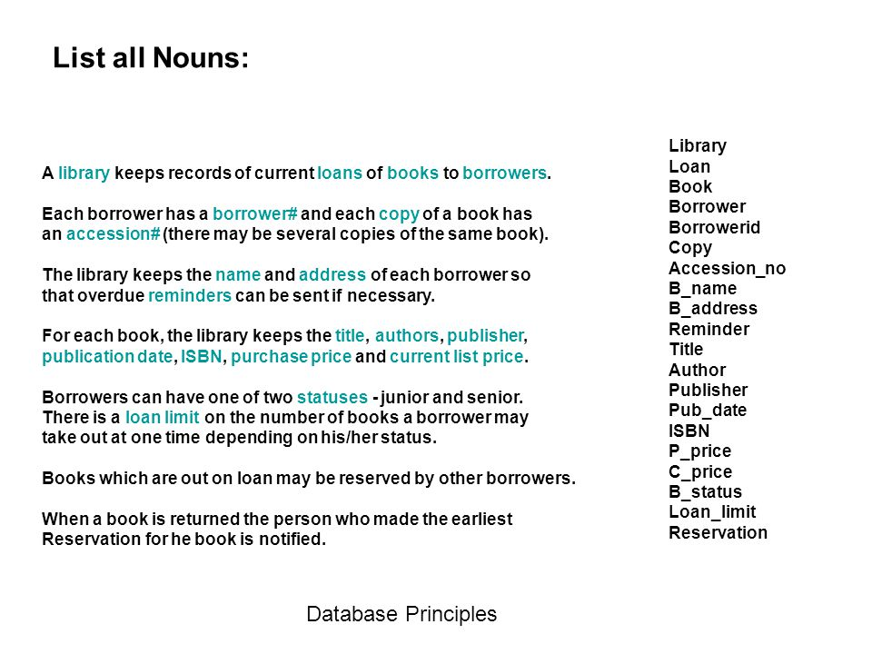List all Nouns: Database Principles Library Loan Book