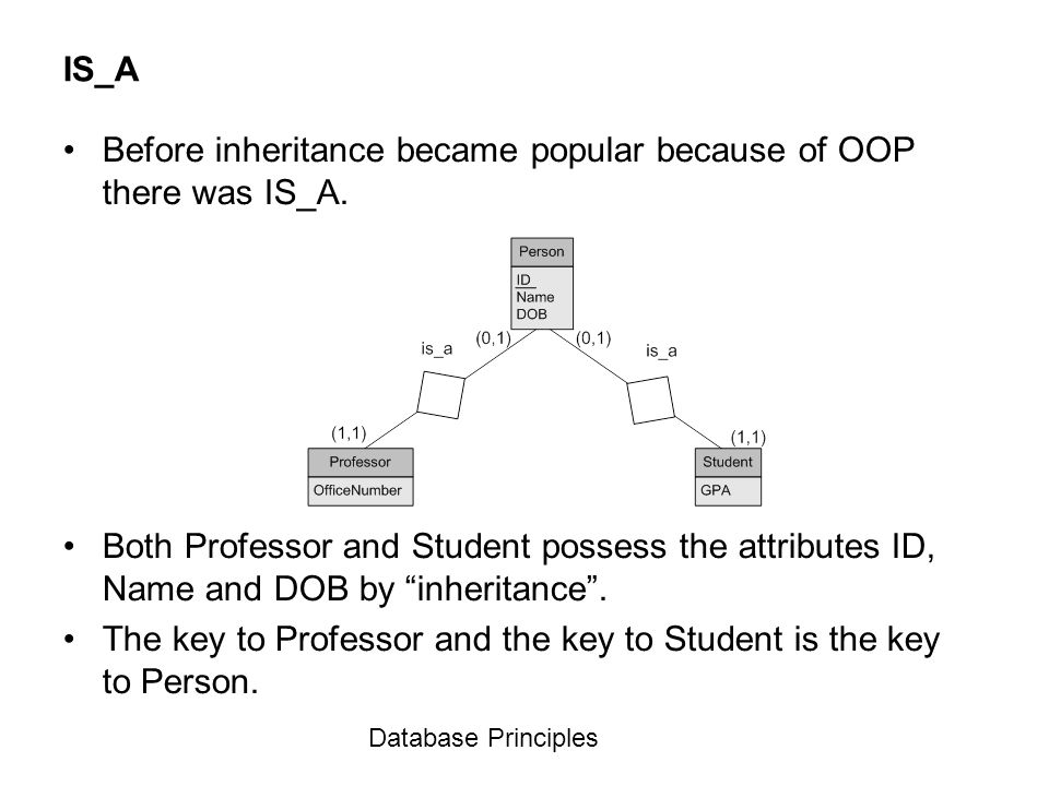 Before inheritance became popular because of OOP there was IS_A.