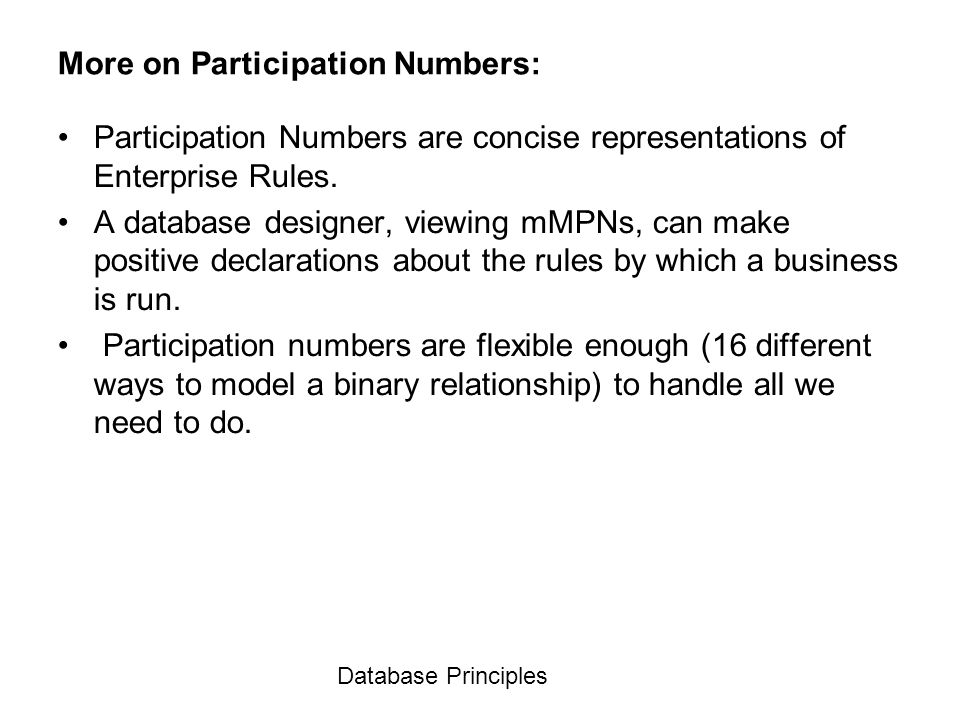 More on Participation Numbers: