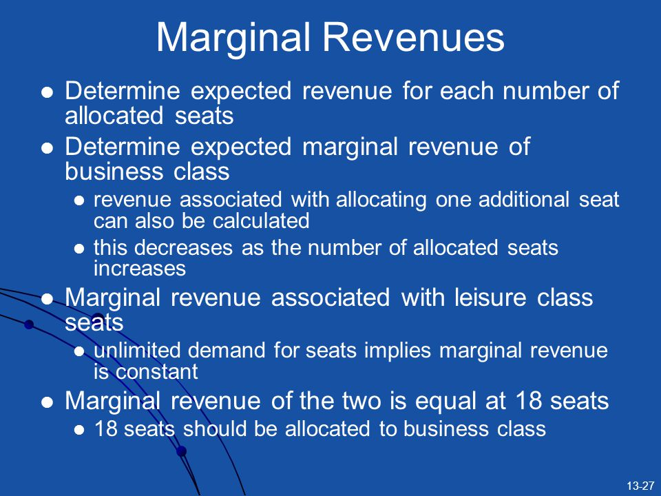 Marginal Revenues Determine expected revenue for each number of allocated seats. Determine expected marginal revenue of business class.