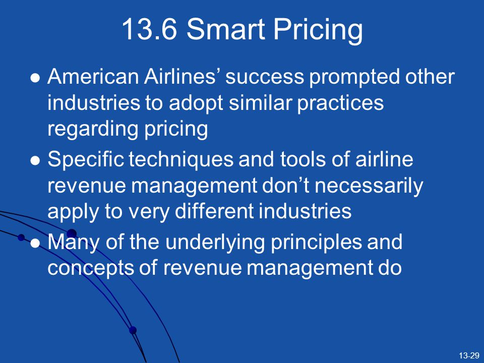 13.6 Smart Pricing American Airlines' success prompted other industries to adopt similar practices regarding pricing.