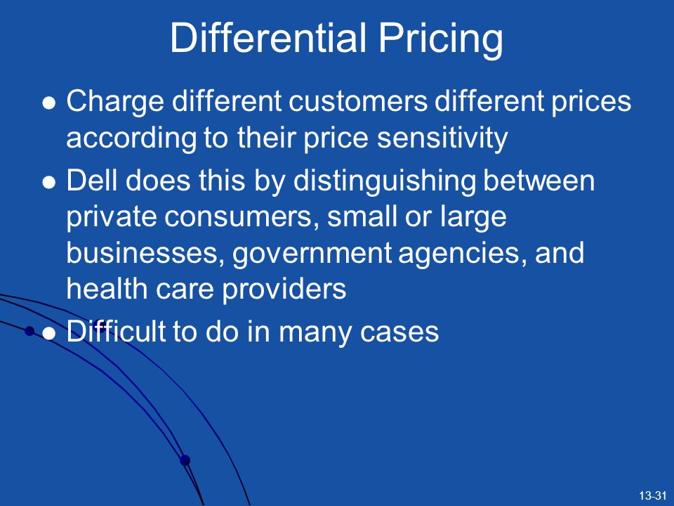 Differential Pricing Charge different customers different prices according to their price sensitivity.
