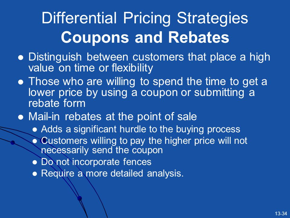 Differential Pricing Strategies Coupons and Rebates