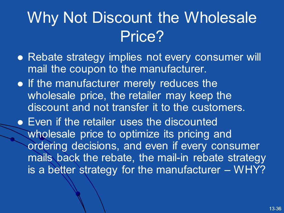 Why Not Discount the Wholesale Price