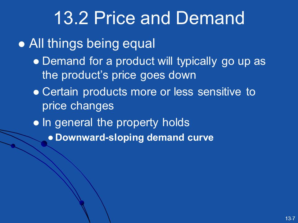 13.2 Price and Demand All things being equal
