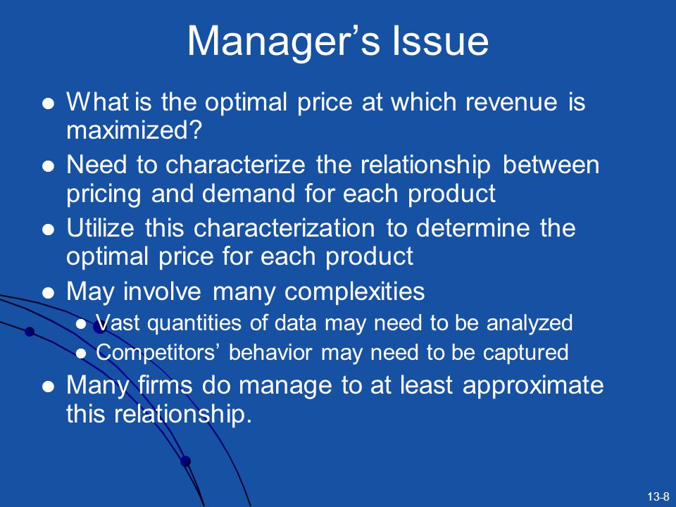 Manager's Issue What is the optimal price at which revenue is maximized