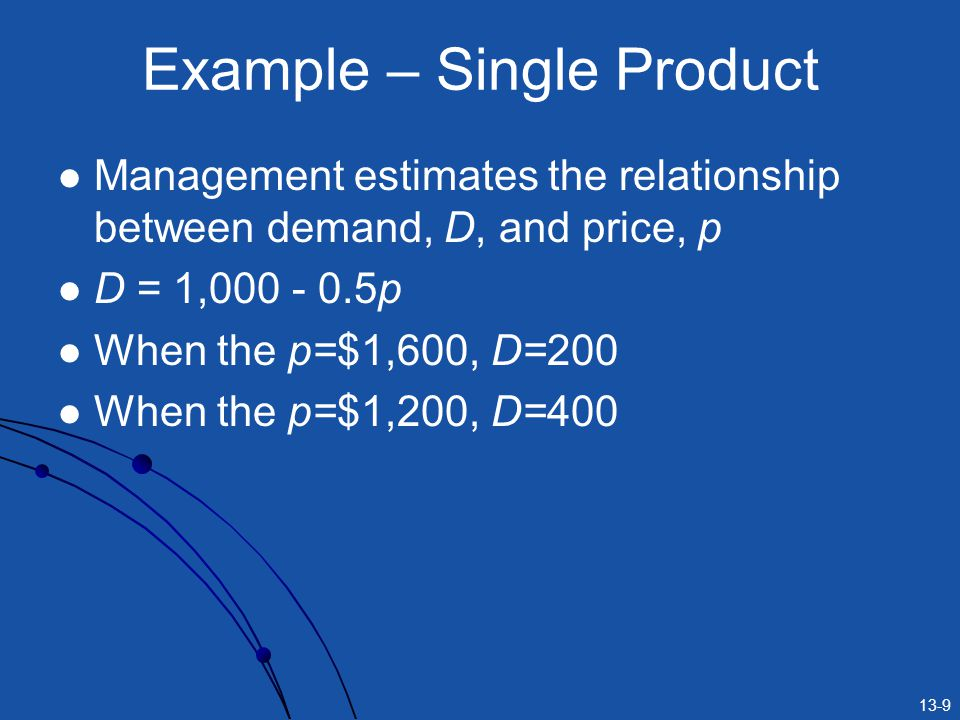 Example – Single Product