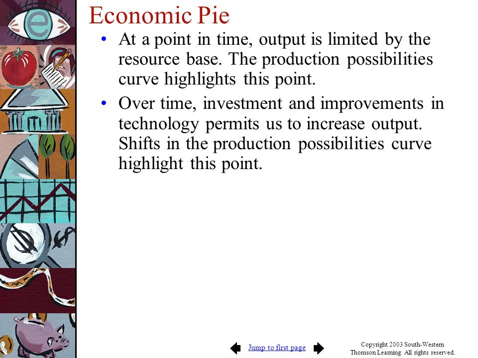 Economic Pie At a point in time, output is limited by the resource base. The production possibilities curve highlights this point.