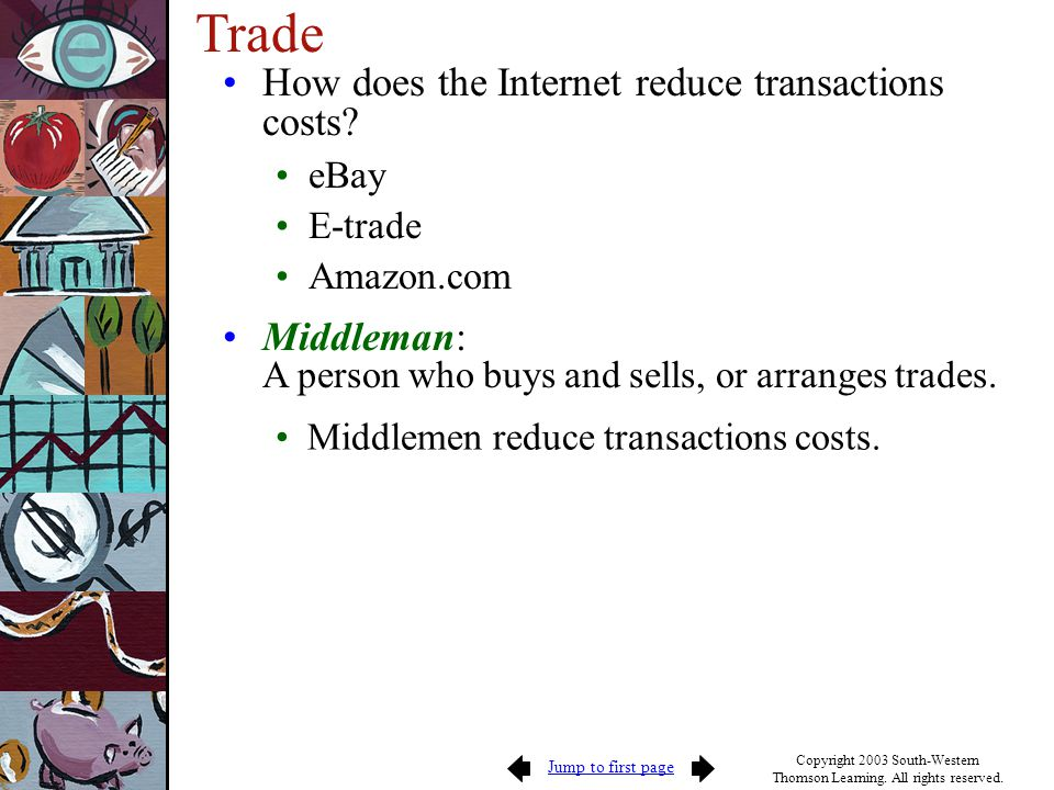 Trade How does the Internet reduce transactions costs