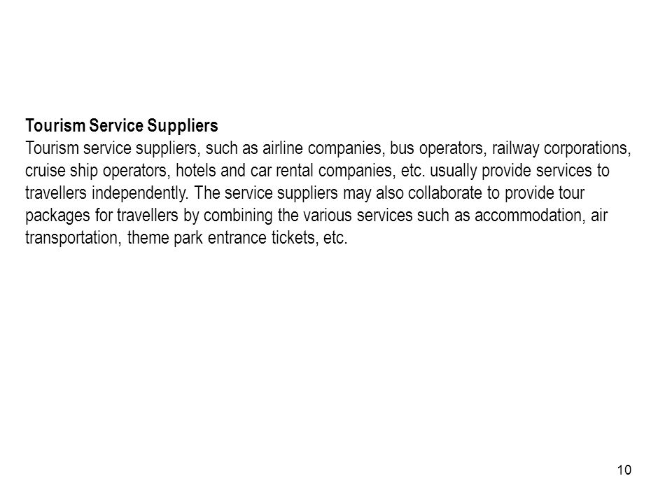 Tourism Service Suppliers