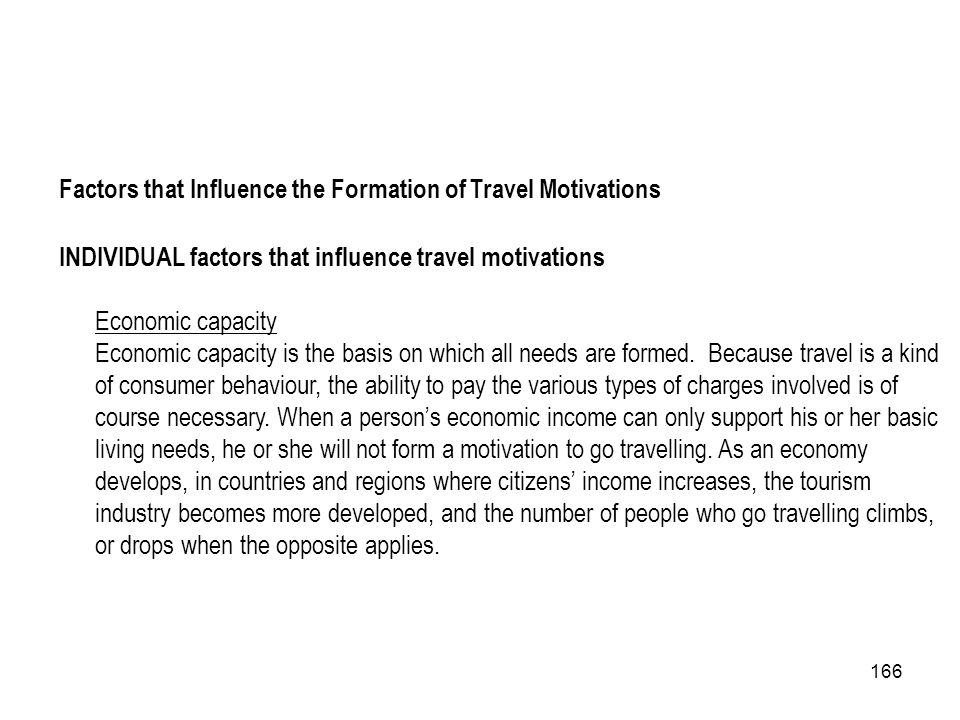 Factors that Influence the Formation of Travel Motivations