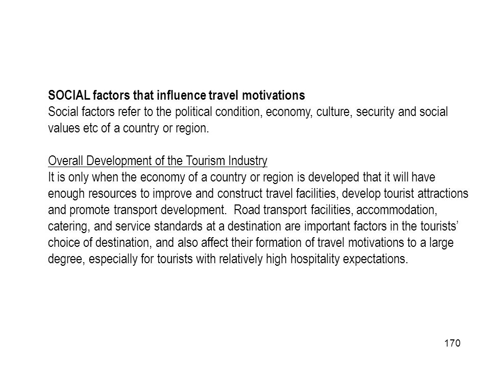 SOCIAL factors that influence travel motivations