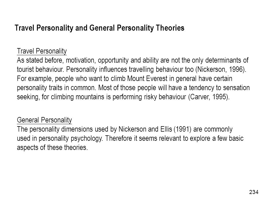 Travel Personality and General Personality Theories
