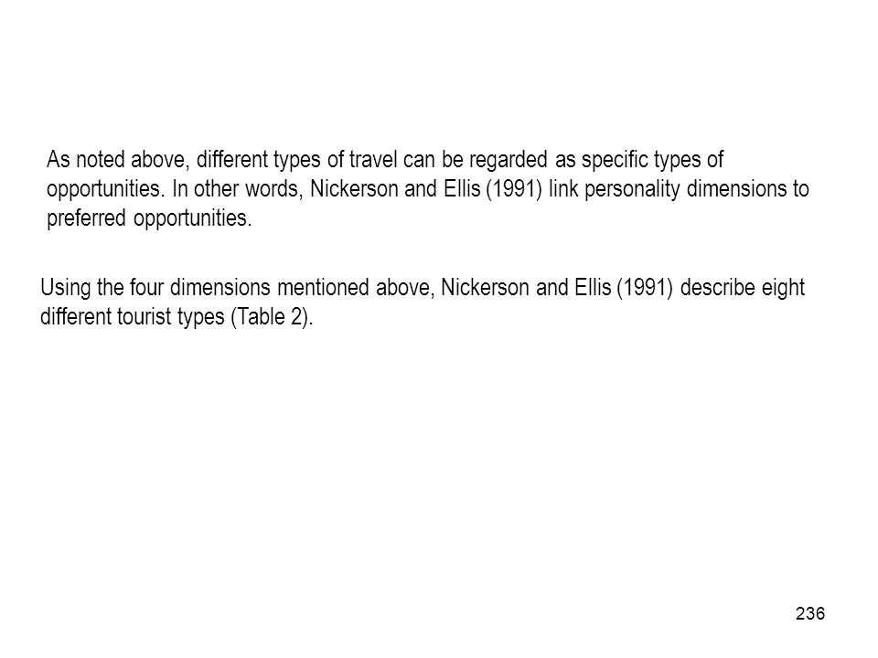 As noted above, different types of travel can be regarded as specific types of opportunities. In other words, Nickerson and Ellis (1991) link personality dimensions to preferred opportunities.