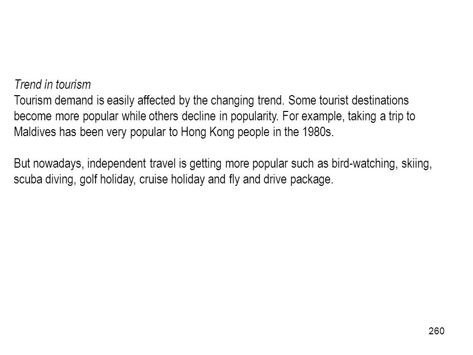 Trend in tourism