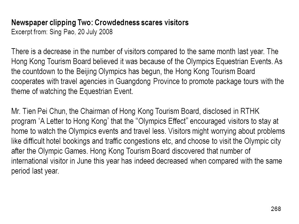 Newspaper clipping Two: Crowdedness scares visitors