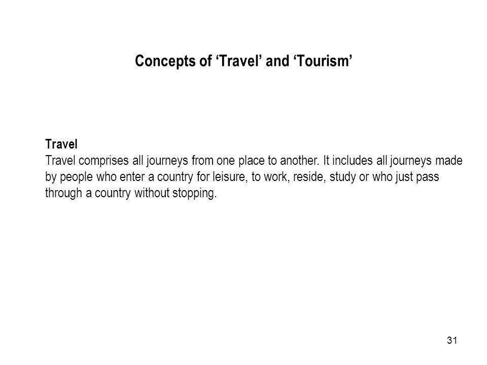 Concepts of 'Travel' and 'Tourism'